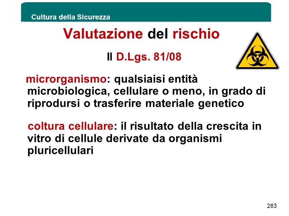 Valutazione del rischio Il D.Lgs. 81/08 microrganismo: qualsiaisi entità microbiologica, cellulare o meno, in grado di riprodursi o trasferire materia
