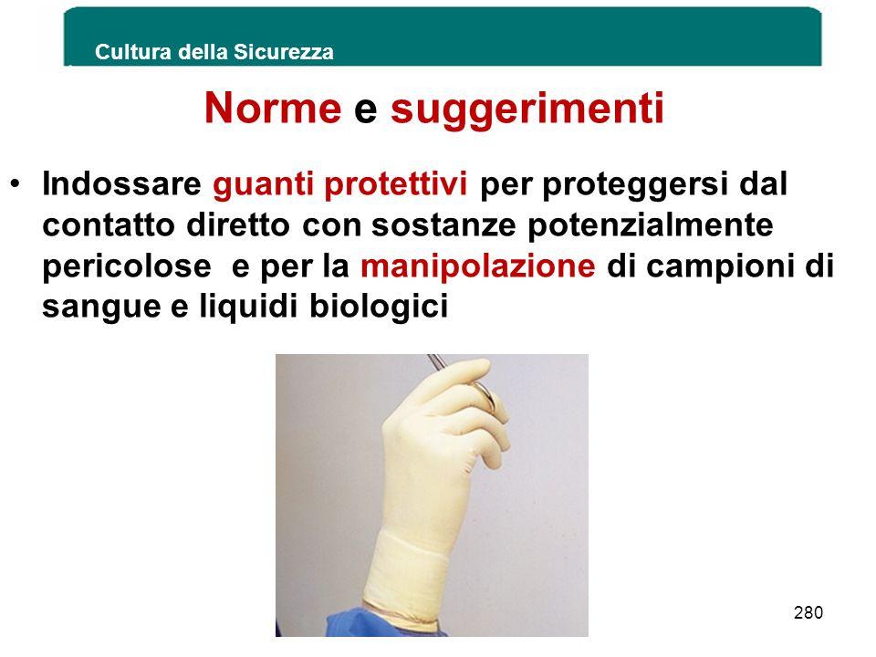 Norme e suggerimenti Indossare guanti protettivi per proteggersi dal contatto diretto con sostanze potenzialmente pericolose e per la manipolazione di