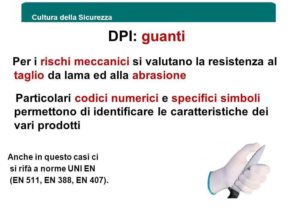 DPI: guanti Per i rischi meccanici si valutano la resistenza al taglio da lama ed alla abrasione Particolari codici numerici e specifici simboli perme