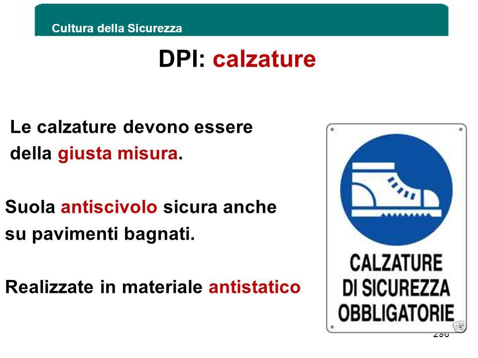 DPI: calzature Le calzature devono essere della giusta misura. Suola antiscivolo sicura anche su pavimenti bagnati. Realizzate in materiale antistatic