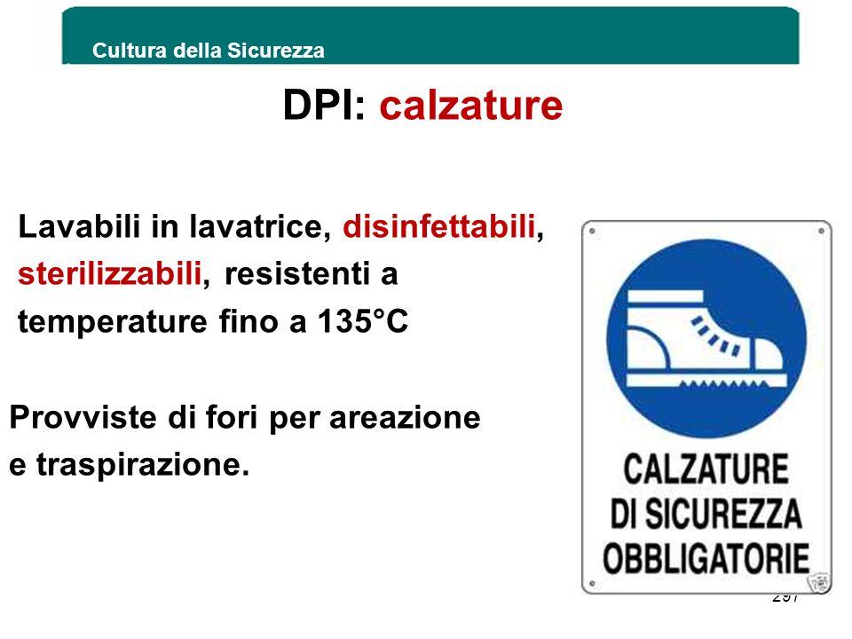 DPI: calzature Lavabili in lavatrice, disinfettabili, sterilizzabili, resistenti a temperature fino a 135°C Provviste di fori per areazione e traspira