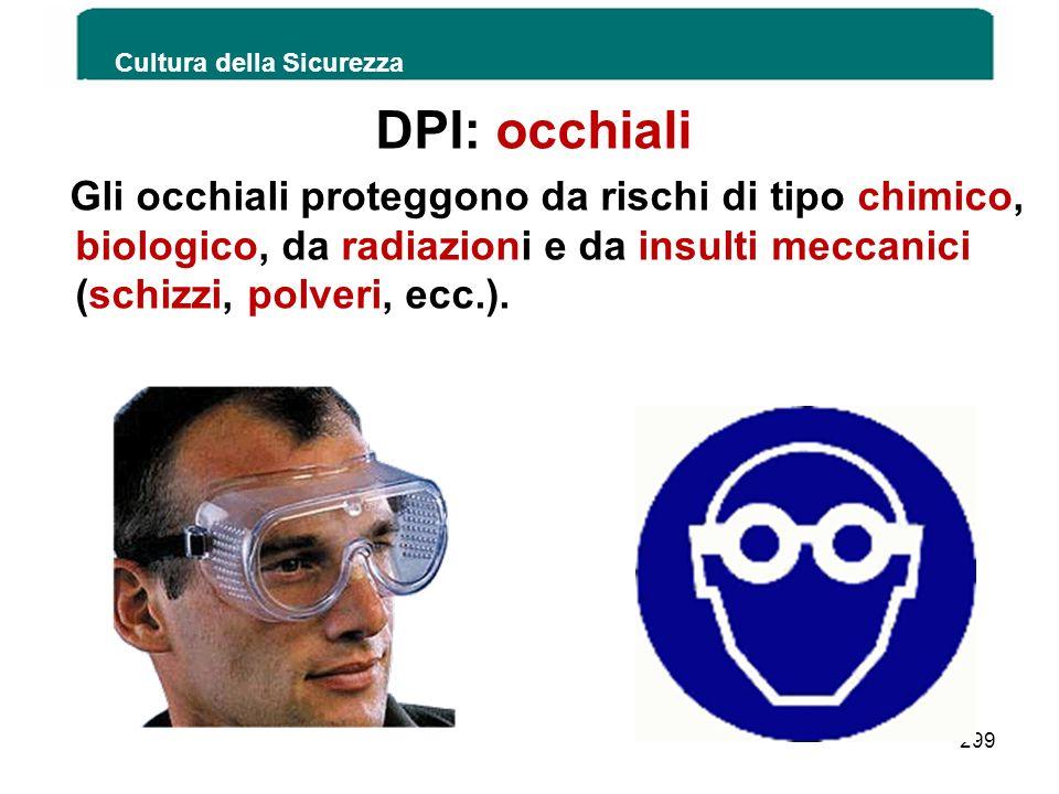 DPI: occhiali Gli occhiali proteggono da rischi di tipo chimico, biologico, da radiazioni e da insulti meccanici (schizzi, polveri, ecc.). Cultura del