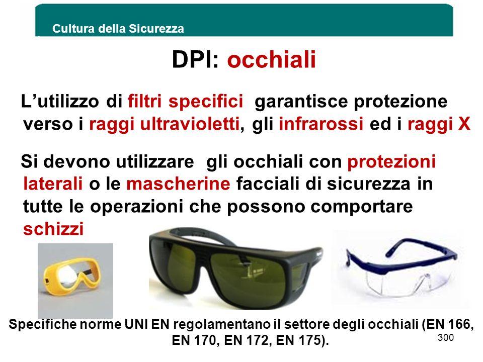 DPI: occhiali Lutilizzo di filtri specifici garantisce protezione verso i raggi ultravioletti, gli infrarossi ed i raggi X Si devono utilizzare gli oc