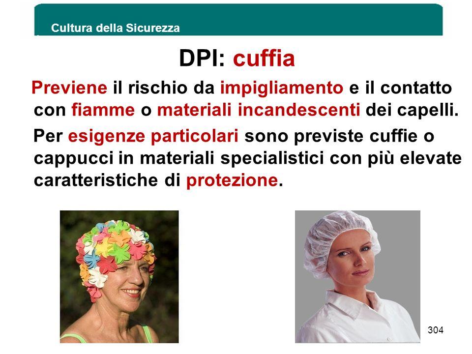 DPI: cuffia Previene il rischio da impigliamento e il contatto con fiamme o materiali incandescenti dei capelli. Per esigenze particolari sono previst