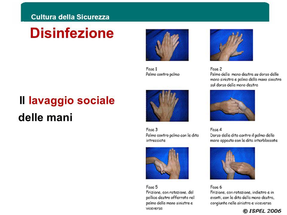 Il lavaggio sociale delle mani Cultura della Sicurezza 57 Disinfezione