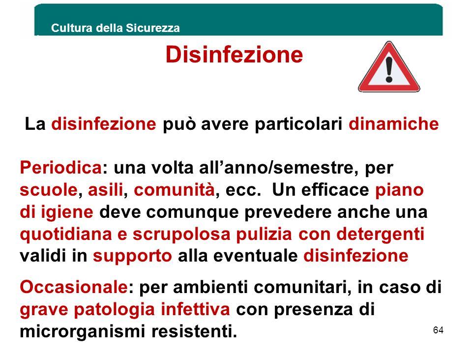 Cultura della Sicurezza 64 Disinfezione La disinfezione può avere particolari dinamiche Periodica: una volta allanno/semestre, per scuole, asili, comu