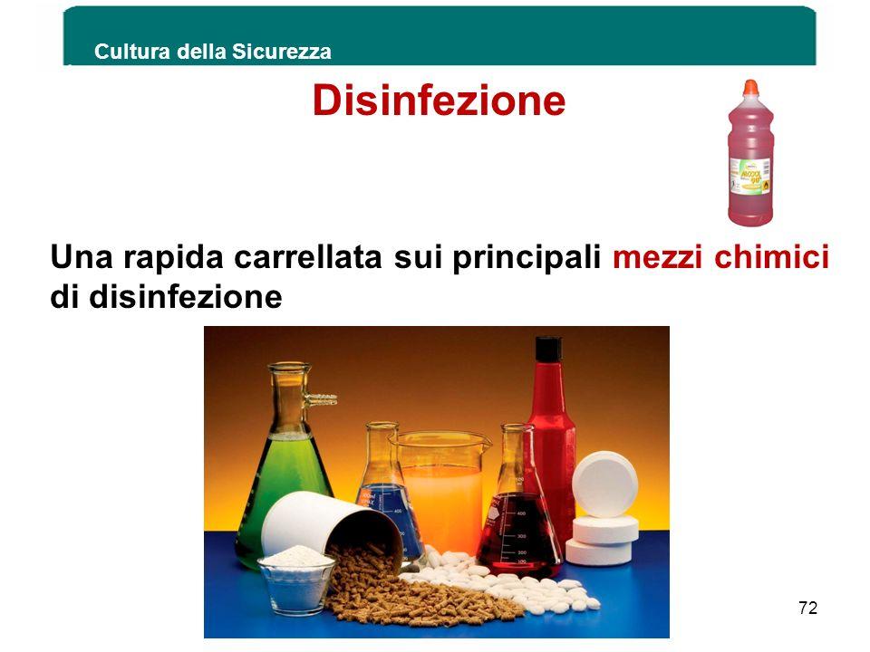 Cultura della Sicurezza 72 Disinfezione Una rapida carrellata sui principali mezzi chimici di disinfezione