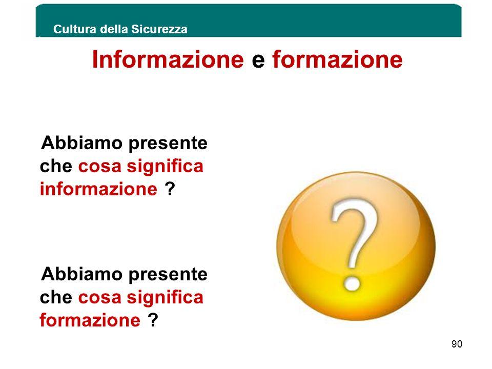 Informazione e formazione Abbiamo presente che cosa significa informazione ? Abbiamo presente che cosa significa formazione ?. Cultura della Sicurezza