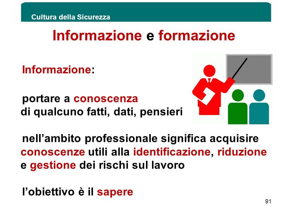 Informazione e formazione Informazione: portare a conoscenza di qualcuno fatti, dati, pensieri nellambito professionale significa acquisire conoscenze