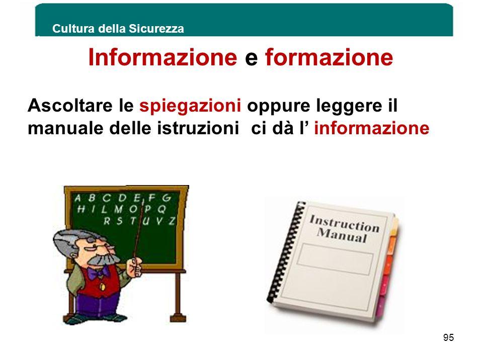 Cultura della Sicurezza 95 Informazione e formazione Ascoltare le spiegazioni oppure leggere il manuale delle istruzioni ci dà l informazione