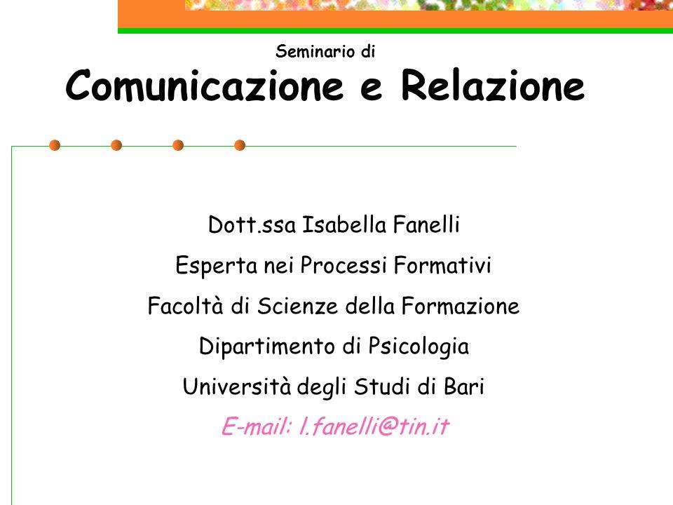 Seminario di Comunicazione e Relazione Dott.ssa Isabella Fanelli Esperta nei Processi Formativi Facoltà di Scienze della Formazione Dipartimento di Ps