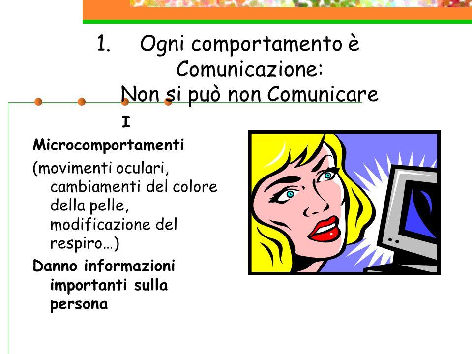 1.Ogni comportamento è Comunicazione: Non si può non Comunicare I Microcomportamenti (movimenti oculari, cambiamenti del colore della pelle, modificaz