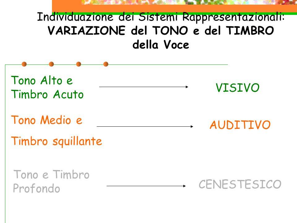 Individuazione dei Sistemi Rappresentazionali: VARIAZIONE del TONO e del TIMBRO della Voce Tono Alto e Timbro Acuto VISIVO AUDITIVO CENESTESICO Tono M