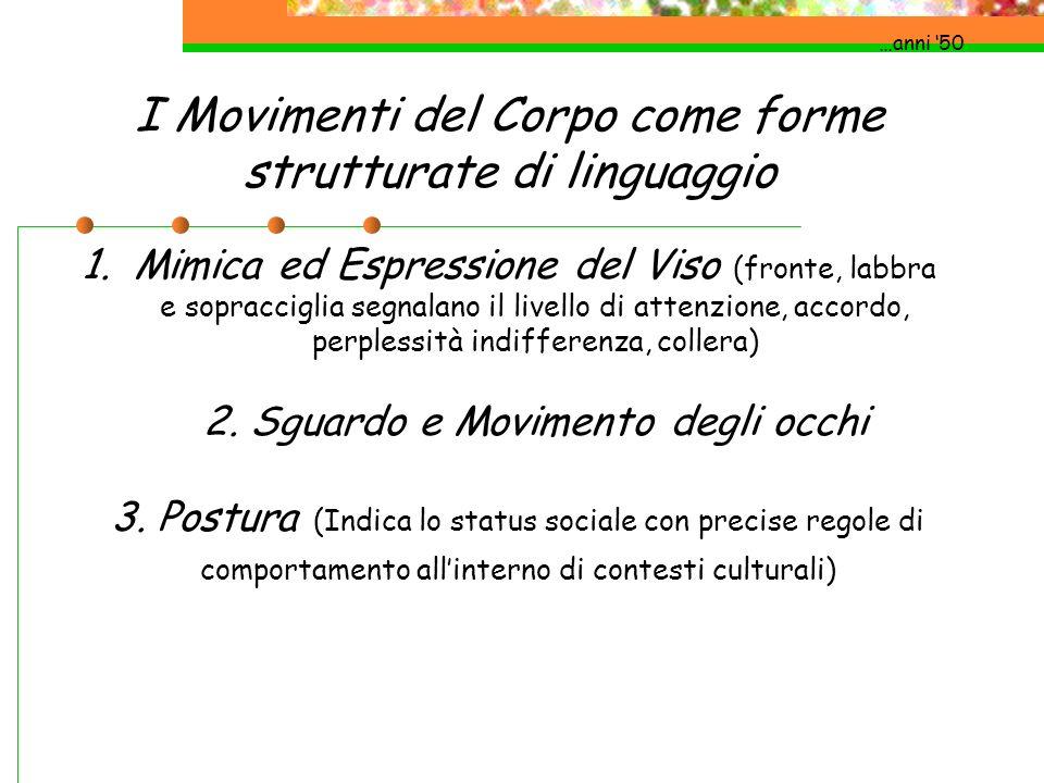 I Movimenti del Corpo come forme strutturate di linguaggio …anni 50 1.Mimica ed Espressione del Viso (fronte, labbra e sopracciglia segnalano il livel
