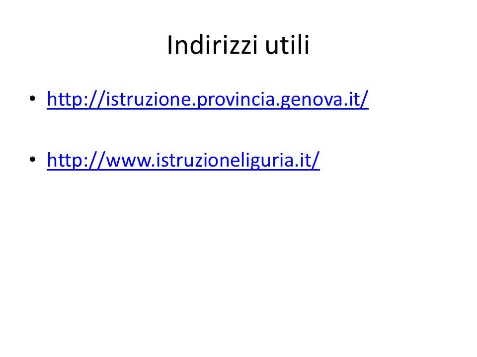 Indirizzi utili http://istruzione.provincia.genova.it/ http://www.istruzioneliguria.it/