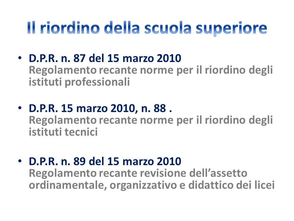 D.P.R. n. 87 del 15 marzo 2010 Regolamento recante norme per il riordino degli istituti professionali D.P.R. 15 marzo 2010, n. 88. Regolamento recante