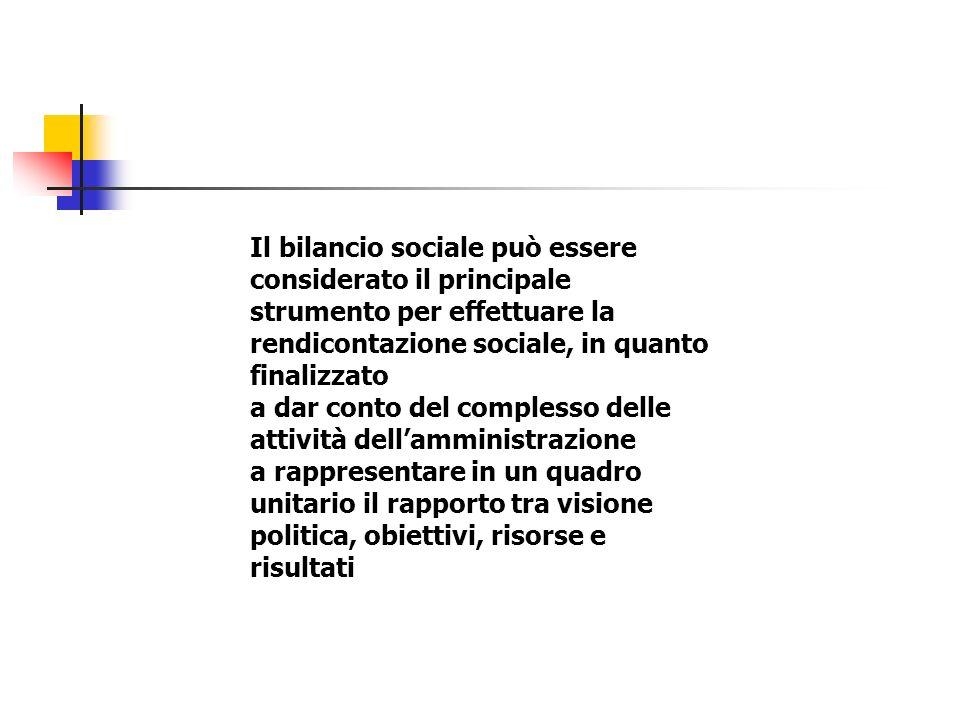 Il bilancio sociale può essere considerato il principale strumento per effettuare la rendicontazione sociale, in quanto finalizzato a dar conto del complesso delle attività dellamministrazione a rappresentare in un quadro unitario il rapporto tra visione politica, obiettivi, risorse e risultati