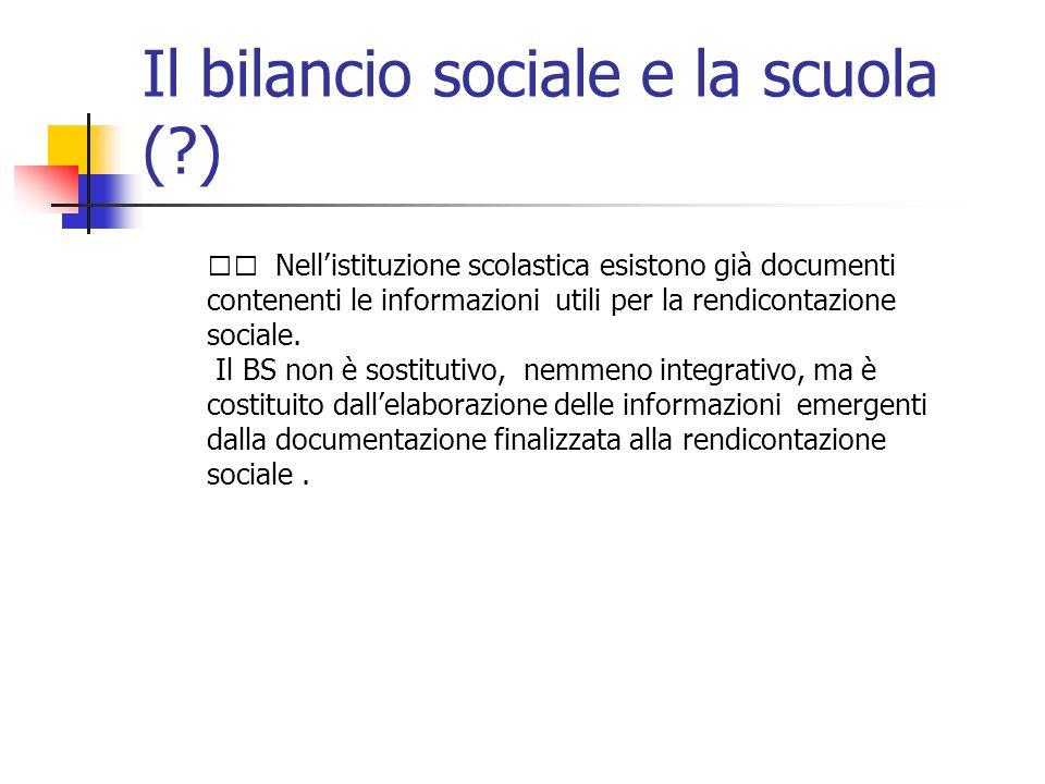 Il bilancio sociale e la scuola (?) Nellistituzione scolastica esistono già documenti contenenti le informazioni utili per la rendicontazione sociale.
