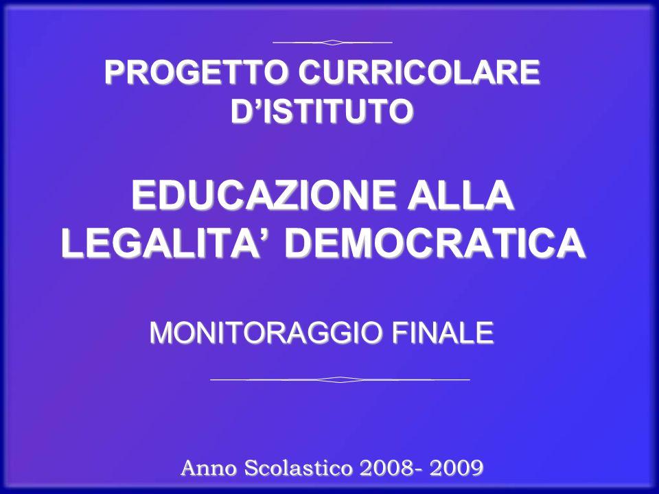 PROGETTO CURRICOLARE DISTITUTO EDUCAZIONE ALLA LEGALITA DEMOCRATICA MONITORAGGIO FINALE Anno Scolastico 2008- 2009