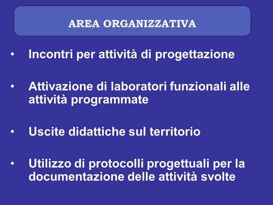 Incontri per attività di progettazione Attivazione di laboratori funzionali alle attività programmate Uscite didattiche sul territorio Utilizzo di pro