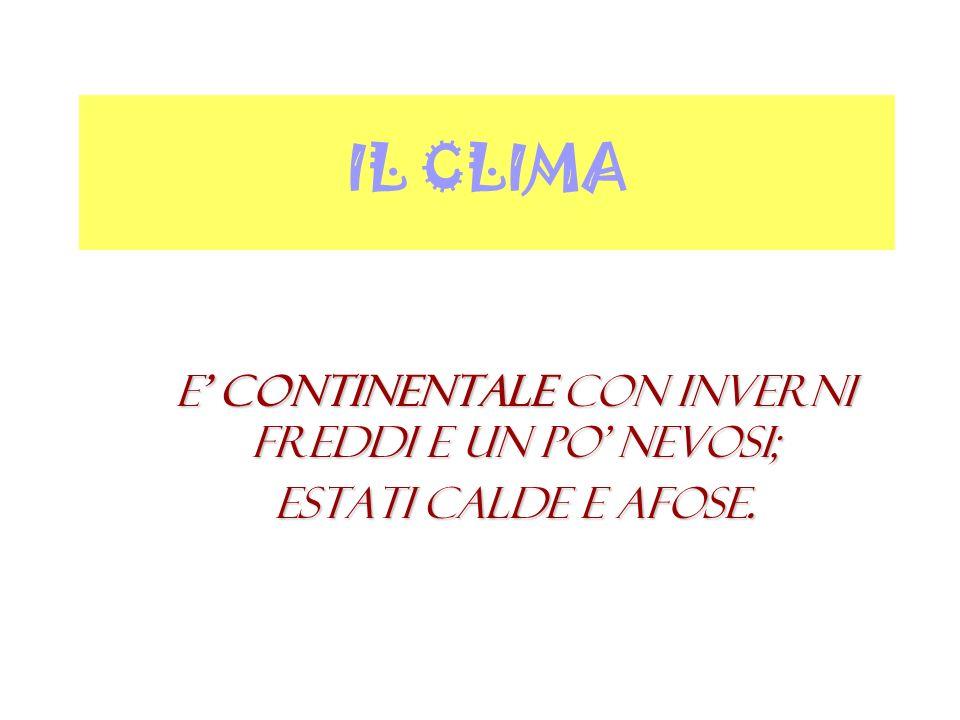 IL CLIMA E continentale con inverni freddi e un po nevosi; estati calde e afose.