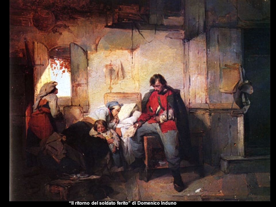 Sentinella di Gerolamo Induno Il quadro mostra un legionario garibaldino atteggiato in un momento di riposo dalla guardia, mentre, assorto, fuma la pipa, ritratto lateralmente, a figura intera, con la baionetta abbassata La partenza del garibaldino di G.