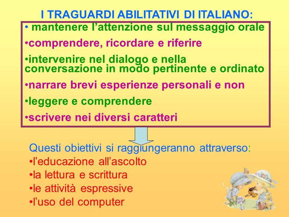 I TRAGUARDI ABILITATIVI DI ITALIANO: mantenere lattenzione sul messaggio orale comprendere, ricordare e riferire intervenire nel dialogo e nella conve