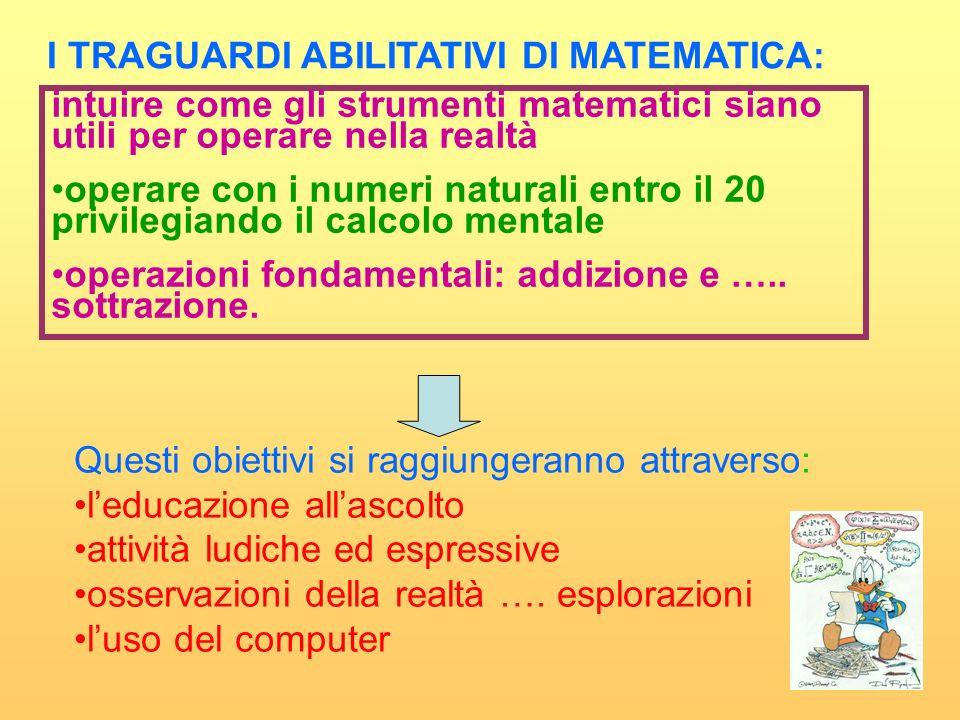 I TRAGUARDI ABILITATIVI DI MATEMATICA: intuire come gli strumenti matematici siano utili per operare nella realtà operare con i numeri naturali entro