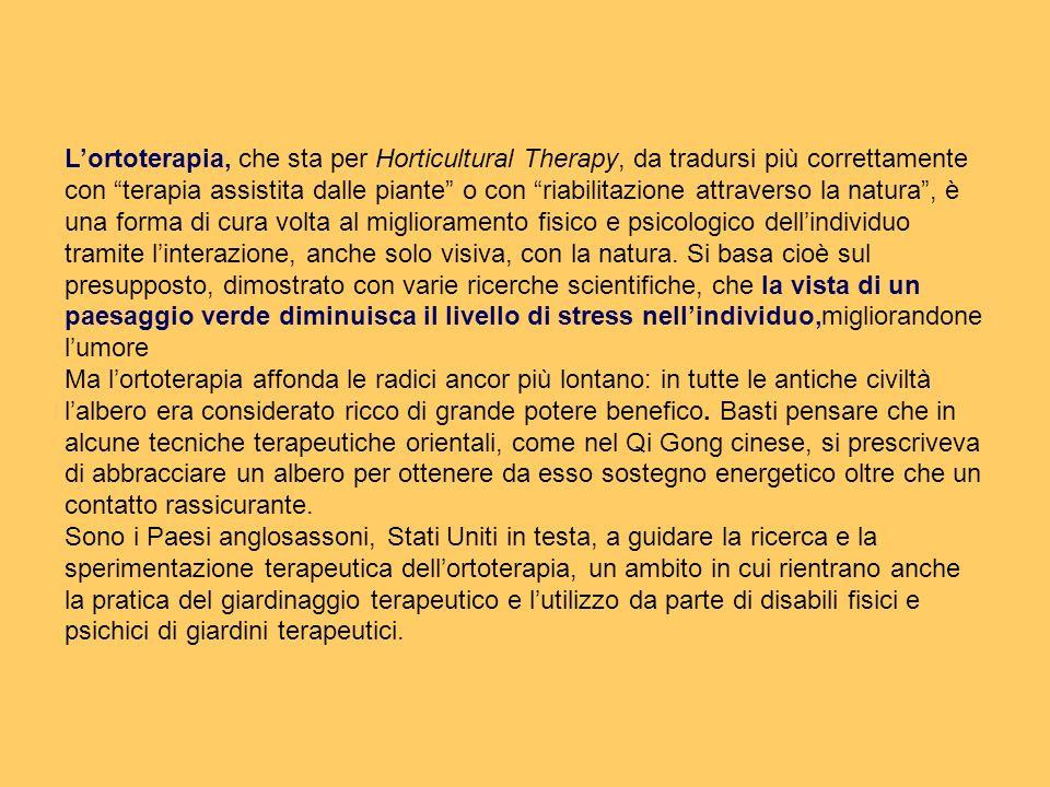Lortoterapia, che sta per Horticultural Therapy, da tradursi più correttamente con terapia assistita dalle piante o con riabilitazione attraverso la n