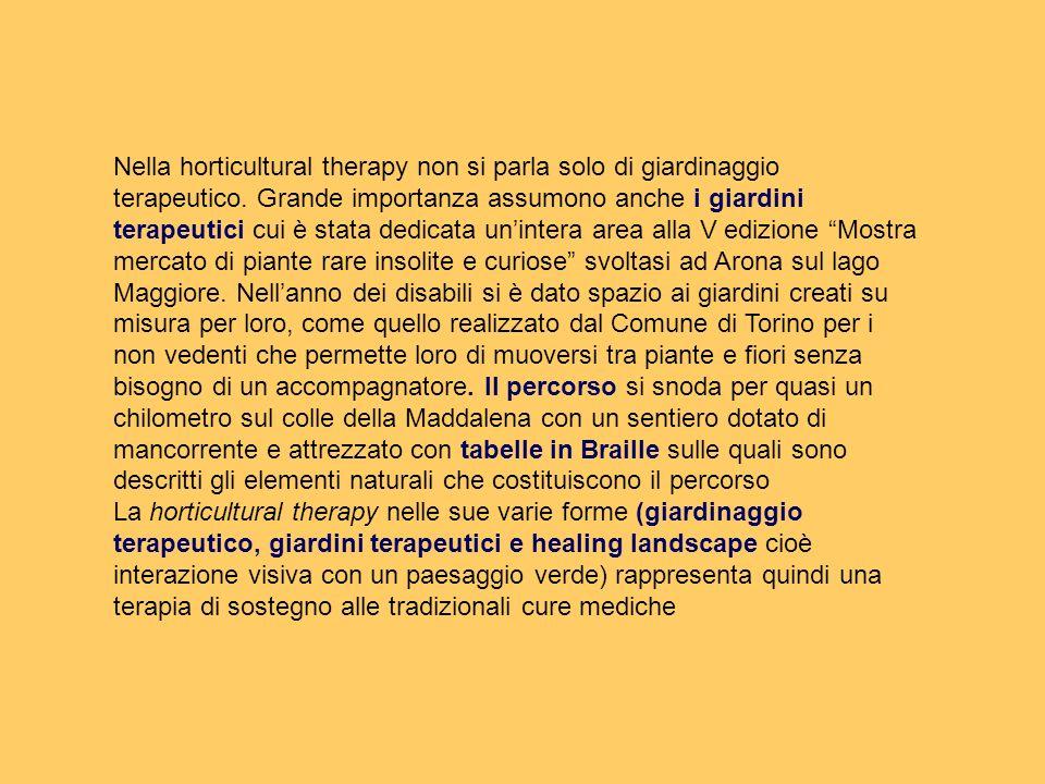 Nella horticultural therapy non si parla solo di giardinaggio terapeutico. Grande importanza assumono anche i giardini terapeutici cui è stata dedicat