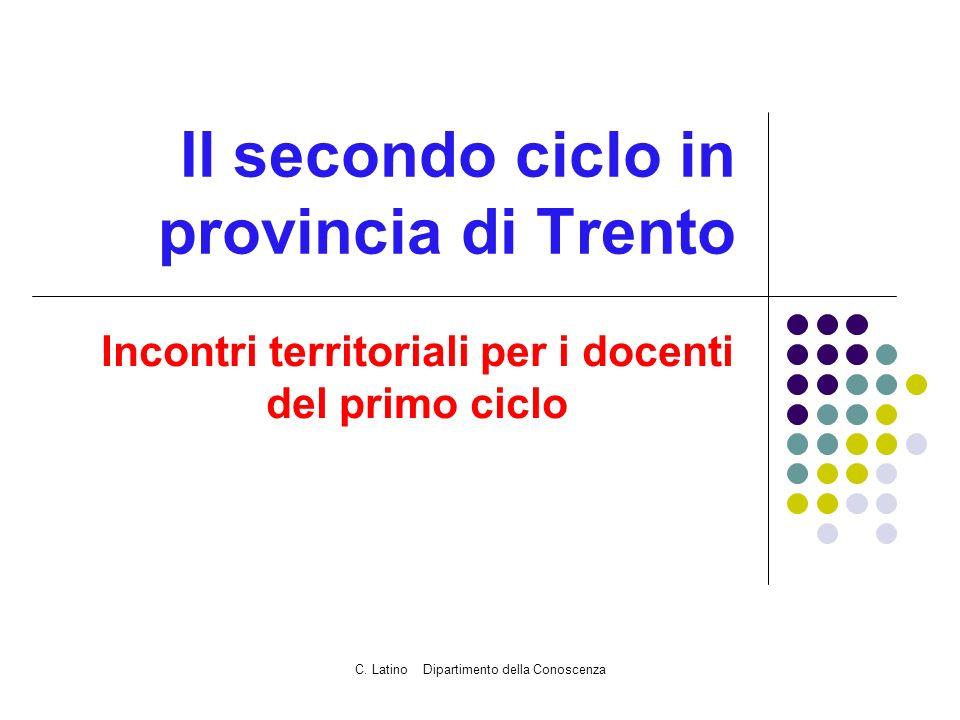 C. Latino Dipartimento della Conoscenza Il secondo ciclo in provincia di Trento Incontri territoriali per i docenti del primo ciclo