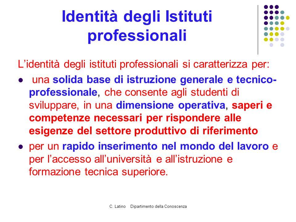 C. Latino Dipartimento della Conoscenza Identità degli Istituti professionali Lidentità degli istituti professionali si caratterizza per: una solida b