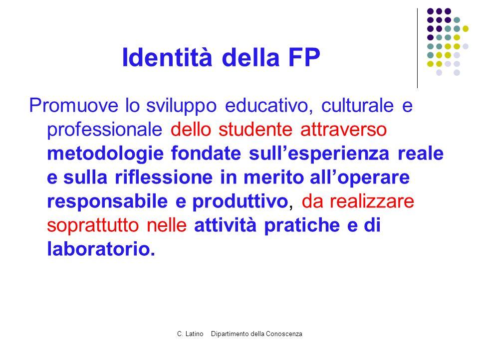 C. Latino Dipartimento della Conoscenza Identità della FP Promuove lo sviluppo educativo, culturale e professionale dello studente attraverso metodolo