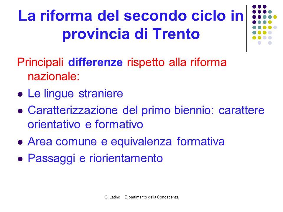C. Latino Dipartimento della Conoscenza La riforma del secondo ciclo in provincia di Trento Principali differenze rispetto alla riforma nazionale: Le