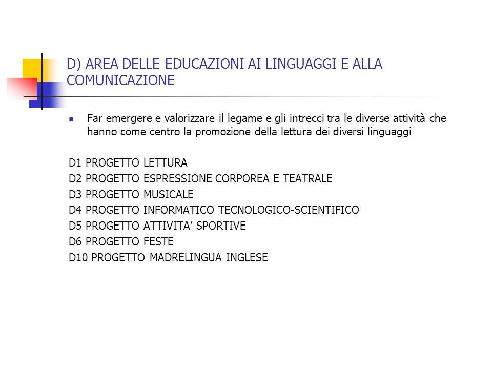 D) AREA DELLE EDUCAZIONI AI LINGUAGGI E ALLA COMUNICAZIONE Far emergere e valorizzare il legame e gli intrecci tra le diverse attività che hanno come