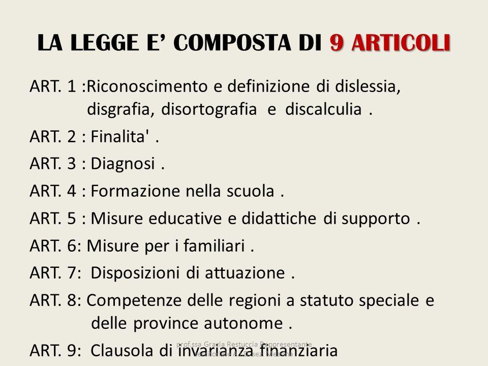 9 ARTICOLI LA LEGGE E COMPOSTA DI 9 ARTICOLI ART. 1 :Riconoscimento e definizione di dislessia, disgrafia, disortografia e discalculia. ART. 2 : Final