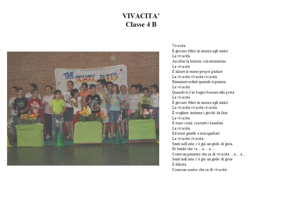 VIVACITA Classe 4 B Vivacità È giocare felici in mezzo agli amici La vivacità Ascoltar la lezione con attenzione La vivacità E alzare la mano per poi