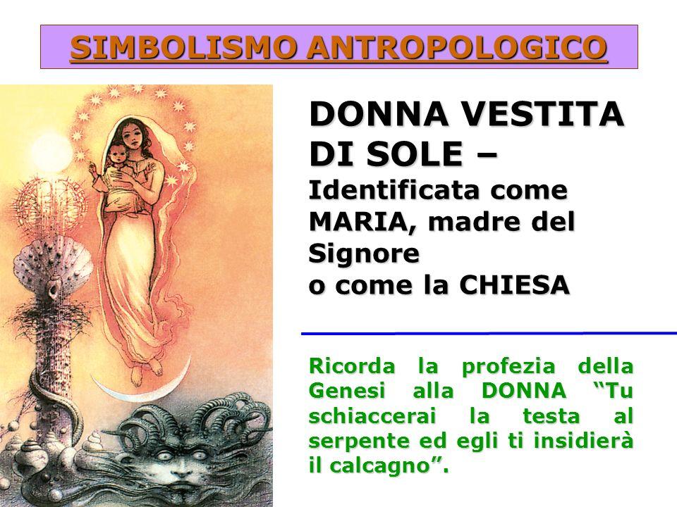 SIMBOLISMO ANTROPOLOGICO DONNA VESTITA DI SOLE – Identificata come MARIA, madre del Signore o come la CHIESA Ricorda la profezia della Genesi alla DON