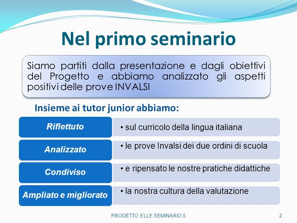 Nel primo seminario PROGETTO ELLE SEMINARIO 5 2 Siamo partiti dalla presentazione e dagli obiettivi del Progetto e abbiamo analizzato gli aspetti posi