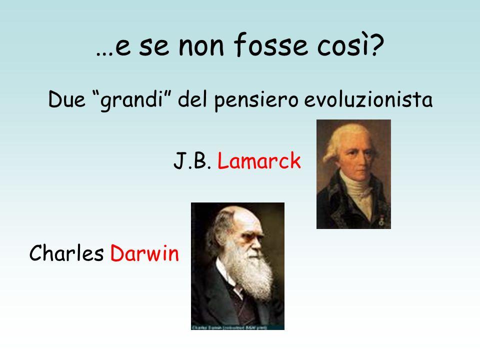…e se non fosse così? Due grandi del pensiero evoluzionista J.B. Lamarck Charles Darwin