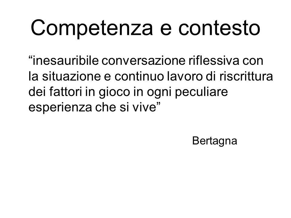 Competenza e contesto inesauribile conversazione riflessiva con la situazione e continuo lavoro di riscrittura dei fattori in gioco in ogni peculiare esperienza che si vive Bertagna