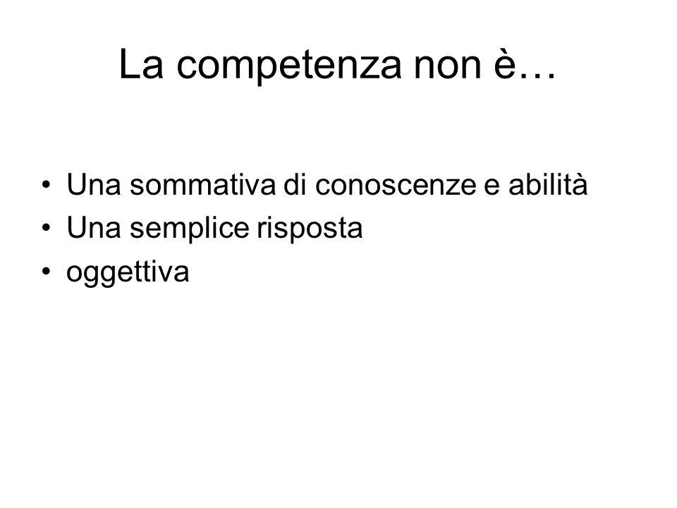 La competenza non è… Una sommativa di conoscenze e abilità Una semplice risposta oggettiva