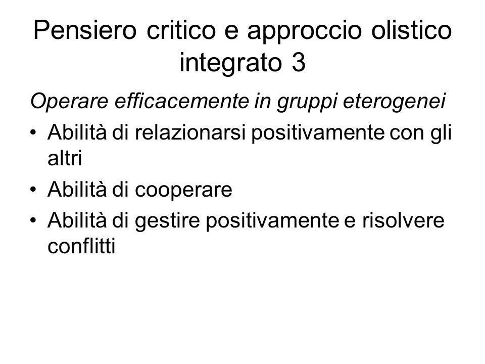 Pensiero critico e approccio olistico integrato 3 Operare efficacemente in gruppi eterogenei Abilità di relazionarsi positivamente con gli altri Abilità di cooperare Abilità di gestire positivamente e risolvere conflitti