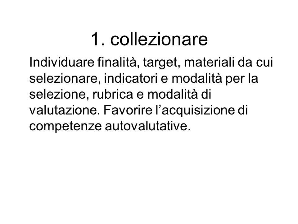 1. collezionare Individuare finalità, target, materiali da cui selezionare, indicatori e modalità per la selezione, rubrica e modalità di valutazione.