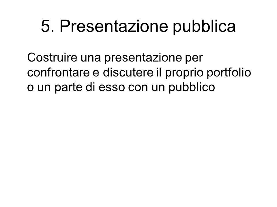 5. Presentazione pubblica Costruire una presentazione per confrontare e discutere il proprio portfolio o un parte di esso con un pubblico