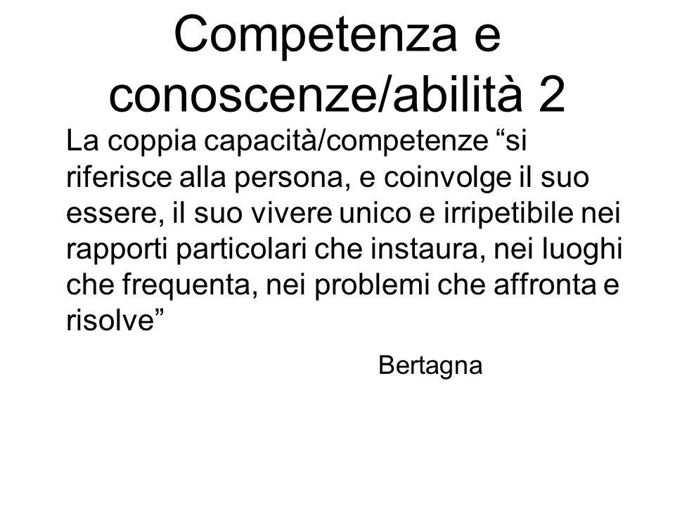 Competenze come insieme le competenze non esistono di per sé, né possono essere separate le une dalle altre se non con un artificio retorico Bertagna