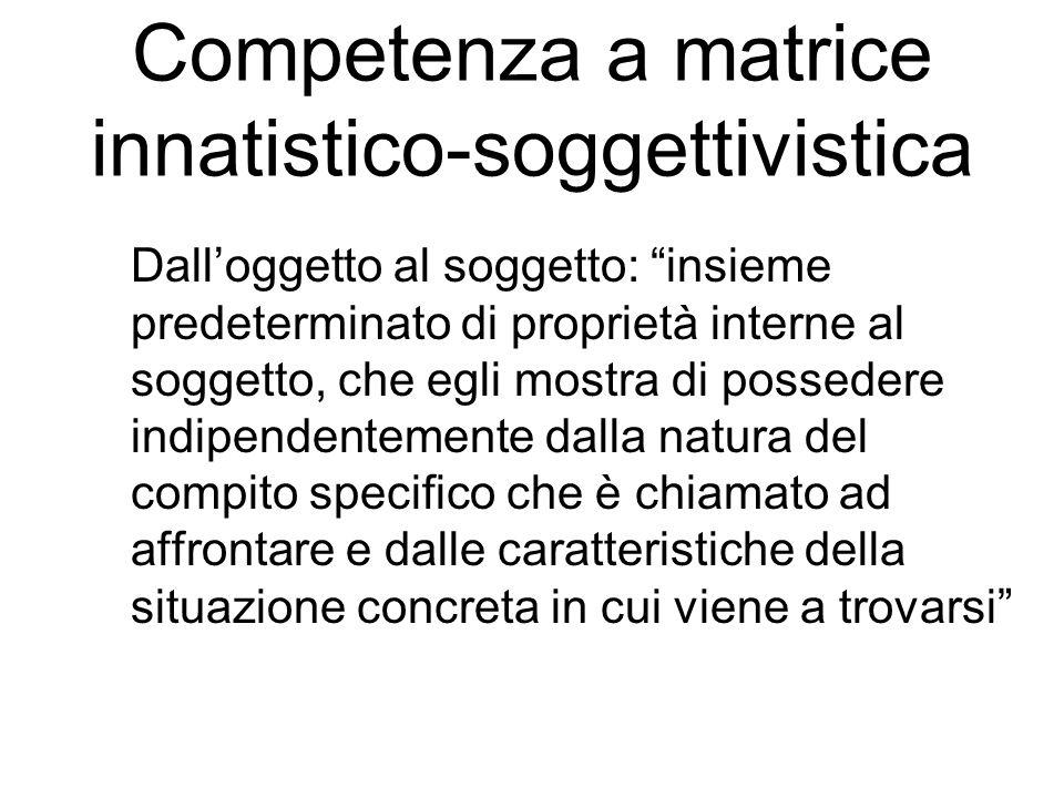 Vertecchi Competenze generali (lessicale, linguistica, inferenziali, percettive, operative, motorie) Competenze concorrenti di derivazione disciplinare o multidisciplinare
