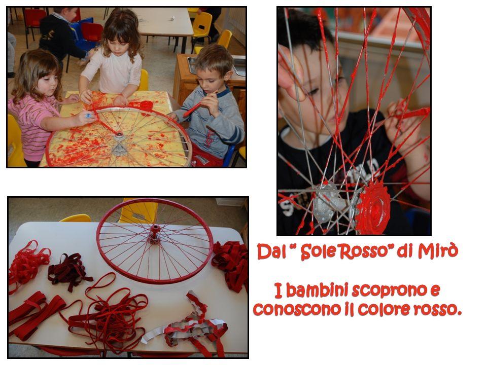 Con una ruota da bicicletta, tanti nastri e carte ad intreccio i bambini realizzano il nostro sole rosso di Mirò.