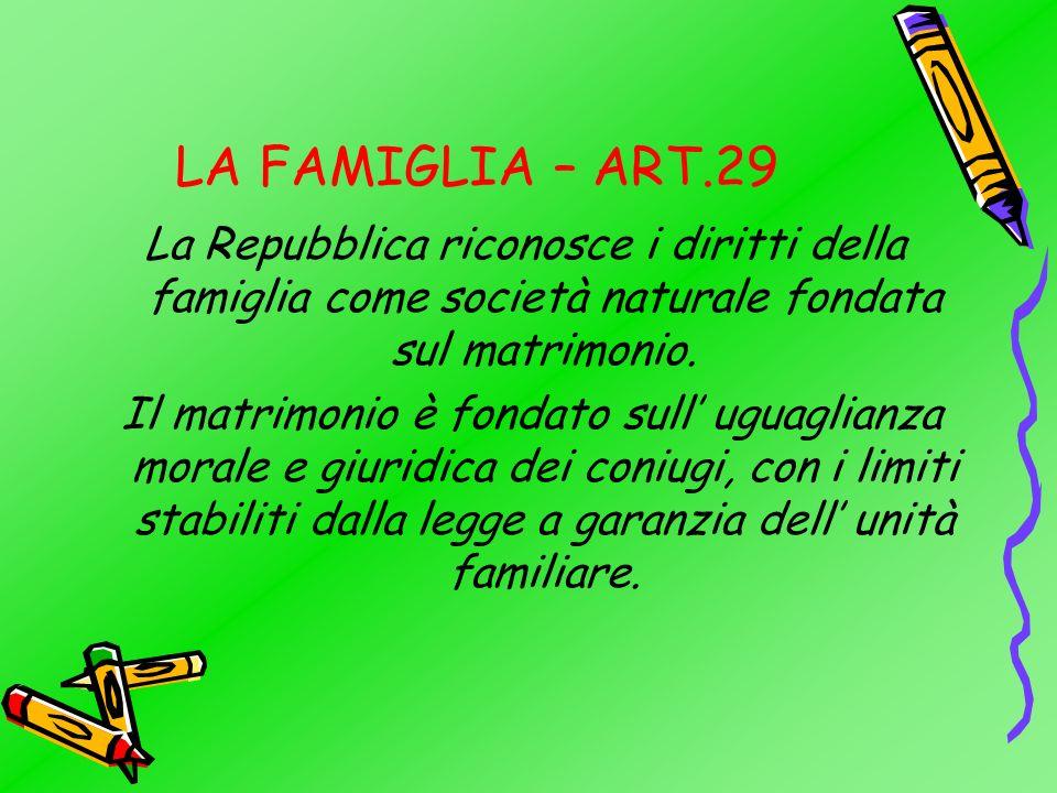 LA FAMIGLIA – ART.29 La Repubblica riconosce i diritti della famiglia come società naturale fondata sul matrimonio.