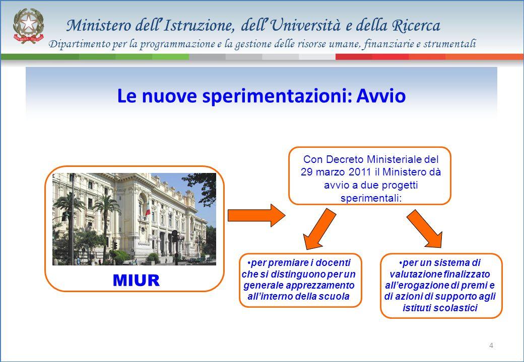 Ministero dell Istruzione, dell Università e della Ricerca 4 Le nuove sperimentazioni: Avvio Con Decreto Ministeriale del 29 marzo 2011 il Ministero d